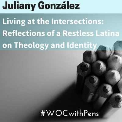 black and white photo of pencils with Juliany Gonzalez name at top, then title of article below name