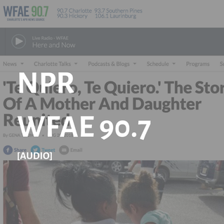 Grayed-out screenshot of NPR landing page for audio story