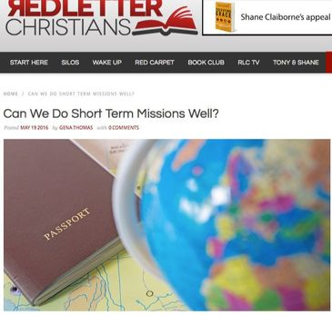 Clickable screenshot of Red Letter Christians webpage for Gena's article on missions