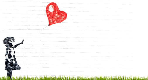 Graphic of imprint of little girl letting go of a red heart balloon