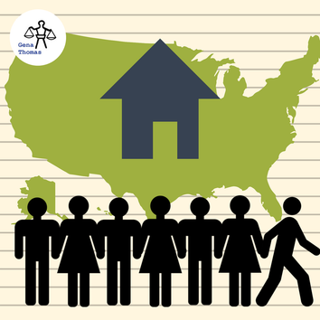 Infographic of a map of the US with a home on top of it and seven people below it