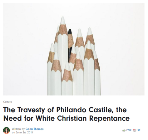 Screenshot of Missio Alliance page of Gena's artilce on the Travesty of Philando Castile, a picture of 11 white pencils and 1 black pencil on a white background