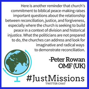 Quote from Peter Rowan about church needing to commit to peace-making.