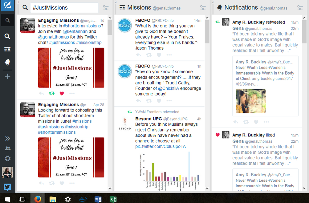 Screenshot of Tweet Deck with three columns of twitter, one for hashtag search, another for a list, and another for notifications