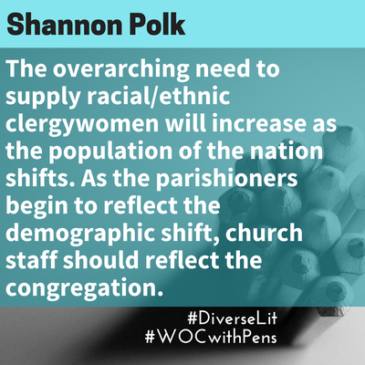 Quote from Shannon Polk about the need for women of color in clergy.