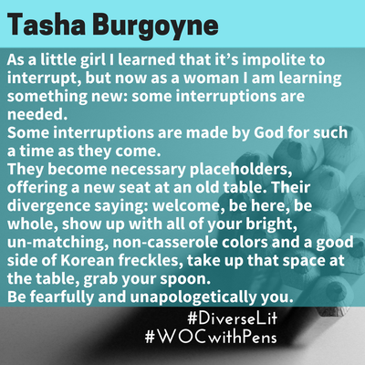 quote from Tasha Burgoyne about being an interruption as a mixed woman.